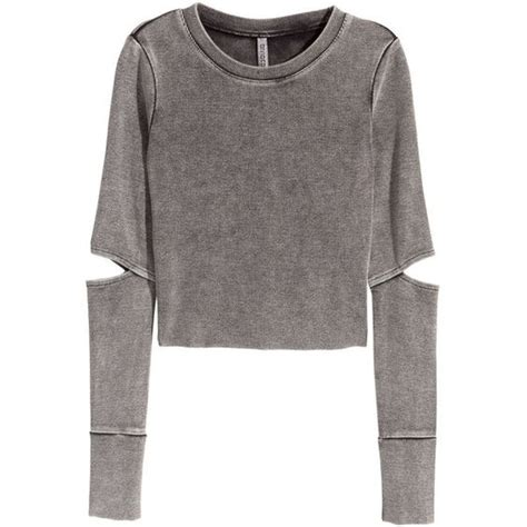 Longsleevetop Whitegrey 15325 h m jersey crop top 30 cad liked on polyvore featuring