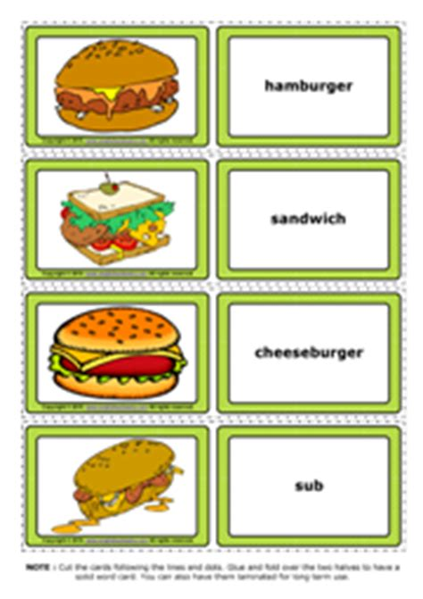 printable food flashcards for toddlers fast food esl printable flashcards and game cards