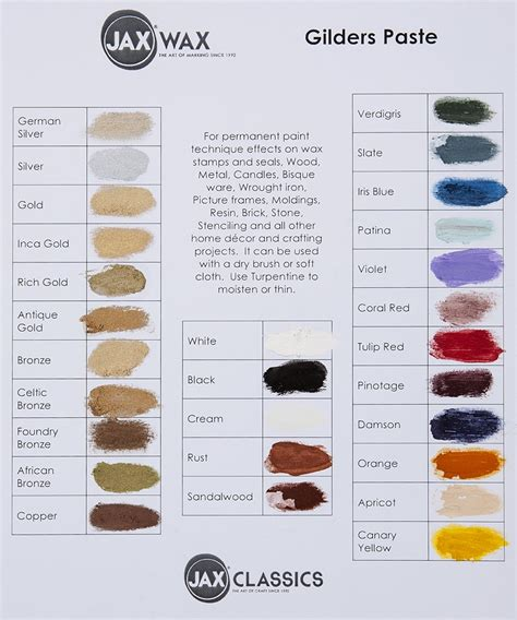 ear wax color colour chart for touch ups to wood stains jax oleum