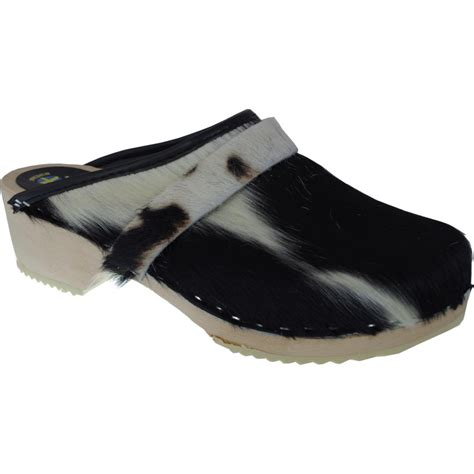 Cowhide Clogs - b w cow wooden clogs cow hide
