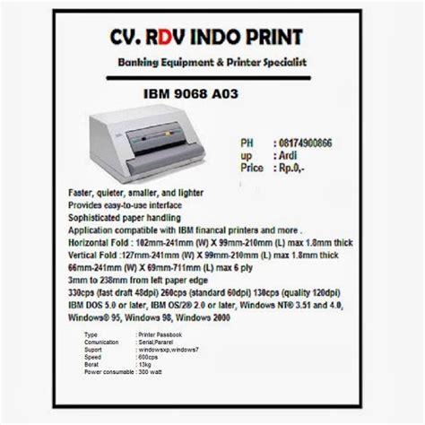Ibm Passbook A03 9068 Surabaya cv rdv indo print ibm 9068 a03 printer passbook