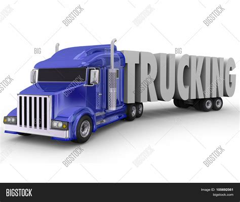 blue trailer portugues trucking word 3d letters pulled image photo bigstock