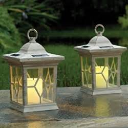 set of 2 solar flickering candle lantern lights garden