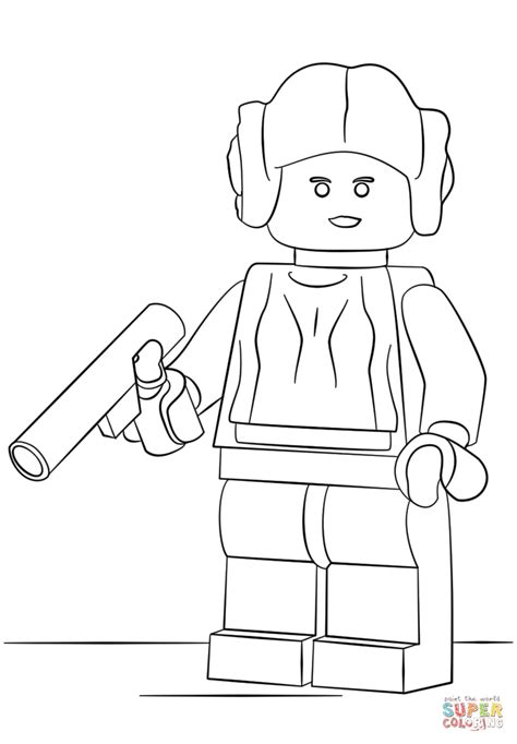 lego princess coloring pages princesa leia de lego super coloring