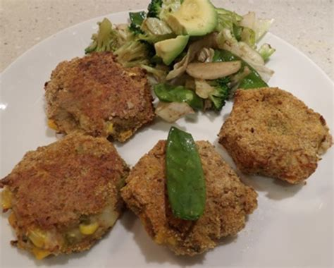 baked tuna corn and asparagus patties with a green salad recipe recipeyum