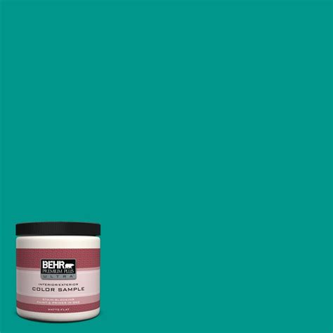 behr premium plus ultra 8 oz s g 490 teal interior exterior paint sle s g 490u