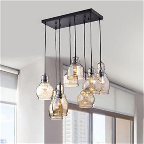 modern industrial pendant light fixture cognac glass cluster kitchen dining room ebay