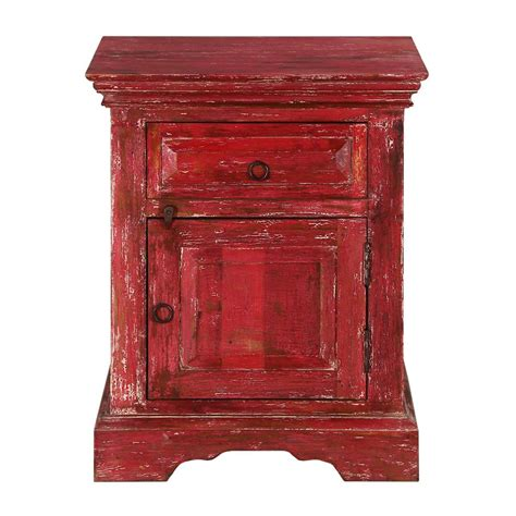 Distressed Wood Nightstand by Firehouse Distressed Mango Wood 1 Drawer Nightstand