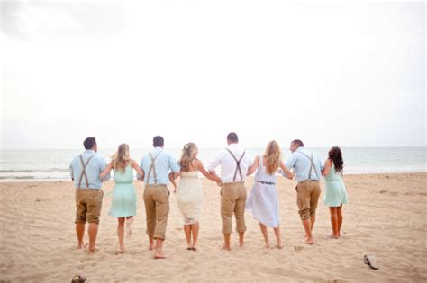 laid back beach wedding bridal party elizabeth anne