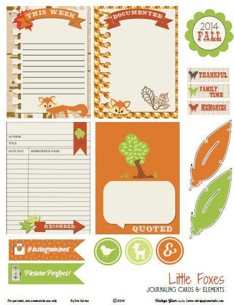 Postkarten Kalender Drucken by Foxes Journaling Cards Free Printable
