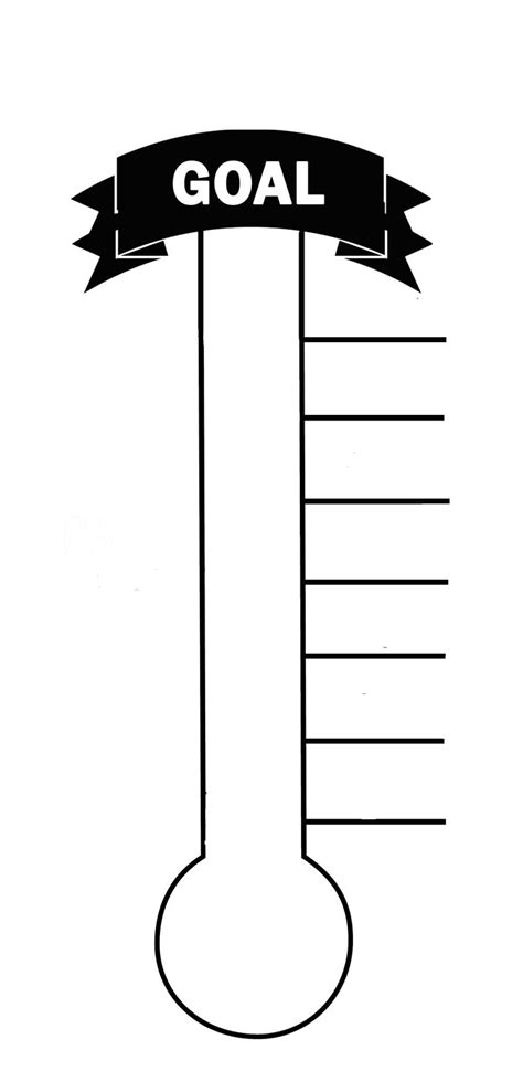 fundraising goal chart template blank thermometer printable for fund raising creating a