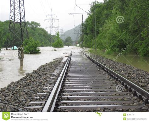 Sleepers Of Railway Track by The Flooded Railway Track With Timber Sleepers