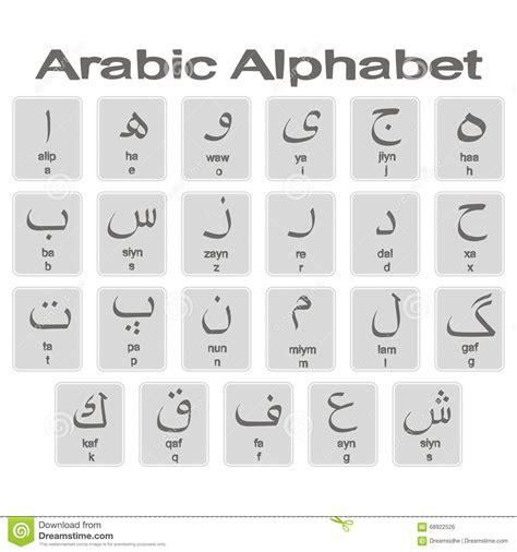 alfabeto arabo lettere insieme delle icone monocromatiche con l alfabeto arabo