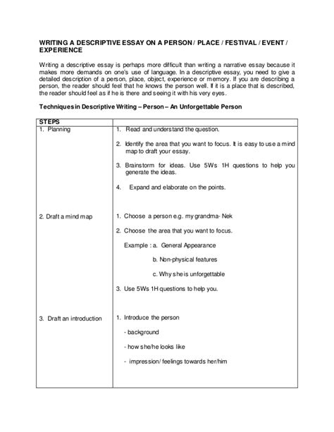 Descriptive Essay About Person by Writing A Descriptive Essay Person
