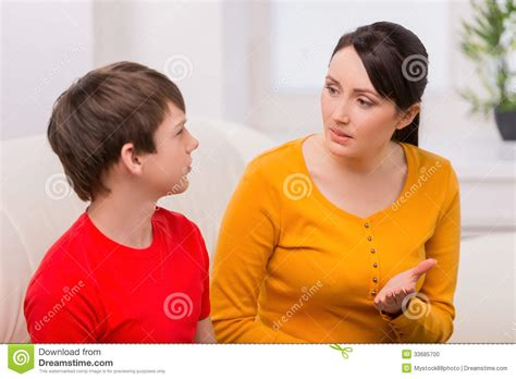 mom son couch mother and problem child stock photo image 33685700