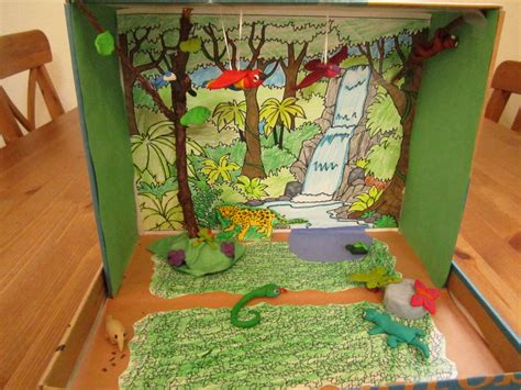 printable forest diorama printable habitat dioramas rainforest diorama school pinterest