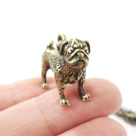 pug charm necklace 3d realistic pug animal shaped breed like charm necklace in brass 183 dotoly