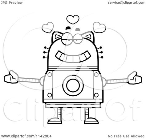 robot cat coloring page cartoon clipart of a black and white loving robot cat