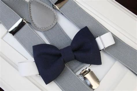 light up bow tie and suspenders navy bow tie light gray elastic suspender set boy bow
