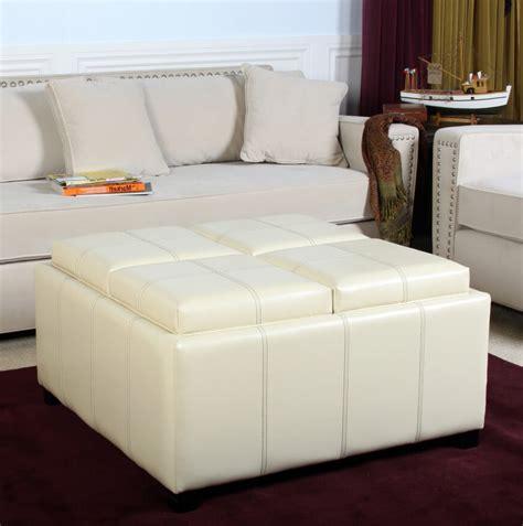 White Leather Ottoman Coffee Table The Attractive White Leather Ottoman Coffee Table Pertaining To Home Plan Rinceweb