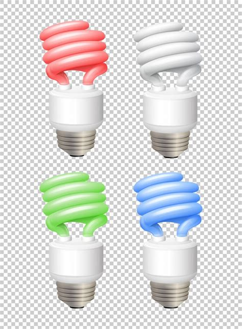color light bulbs different color lightbulbs on transparent background