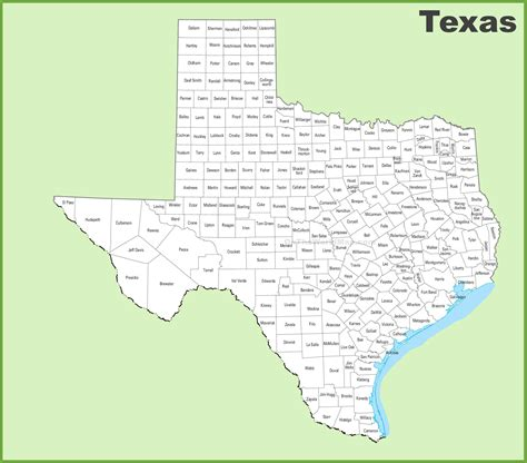 texas state map with counties texas county map