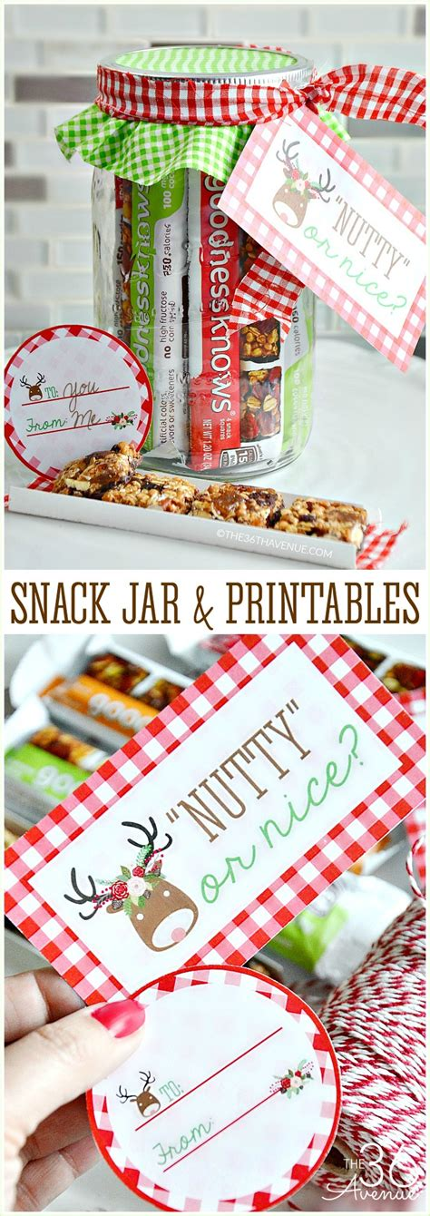Handmade Gifts For Coworkers - snack jar gift idea and free printables the 36th avenue