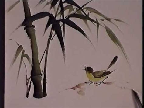Asian Wall Mural bamboo and bird chinese brush painting by virginia lloyd