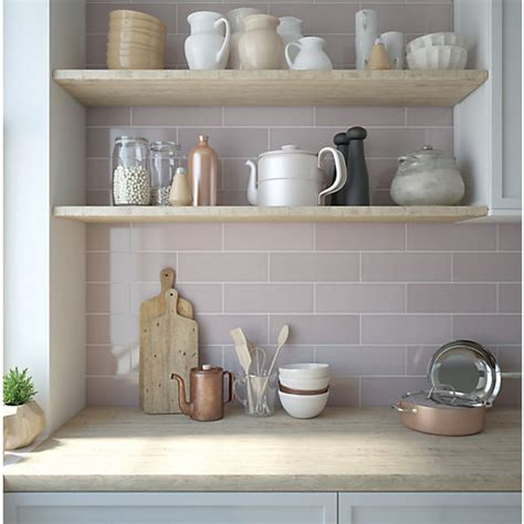 wickes soho dusky pink ceramic wall tile 300 x 100mm