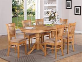 Oak Dining Room Table Sets by 7 Pc Vancouver Oval Dinette Kitchen Dining Table W 6
