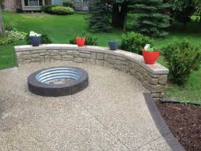 Aggregate Cement Patios by Exposed Aggregate With Pre Fab Pit Ring And Rock