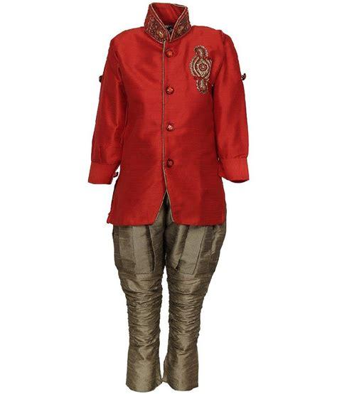 riwaaz cream mehroon color kurta pajama set with jacket riwaaz red color kurta pajama set with jacket for kids