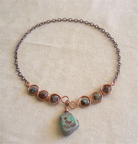 chrysocolla jasper with copper wire jewelry journal