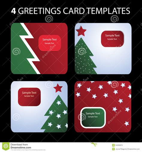 Christmas Card Templates Stock Vector Illustration Of Happy 34293876 Card Picture Templates