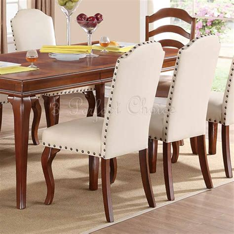 set of 2 formal dining set of 2 formal dining side chairs upholstered faux leather trim button ebay