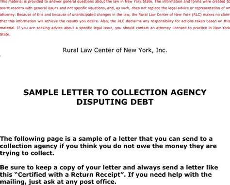 Release Letter Collection Agency sle letter to collection agency disputing debt
