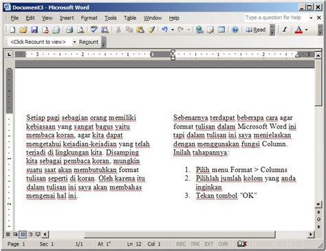 cara membuat novel di microsoft word cara membuat kolom seperti koran di microsoft word ujian