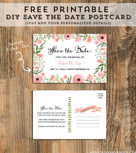 diy save the date postcard free printable mountain