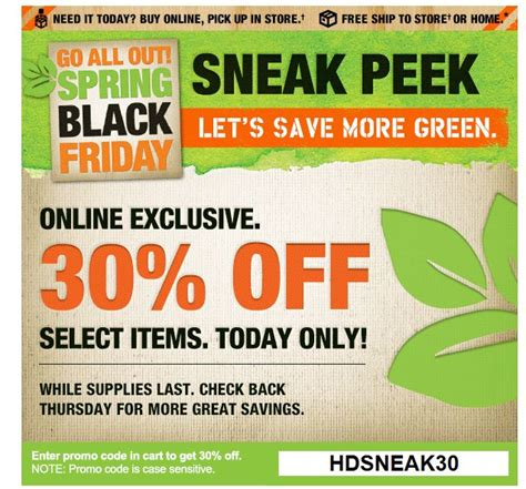 home depot save 30 percent on select items today only