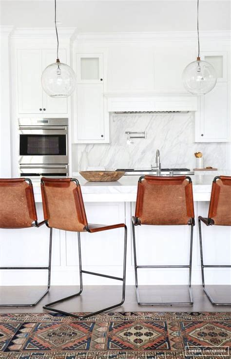 Kilim Kitchen Rug Kitchen Renovation Inspiration All White With Great Leather Barstools And Kilim Rug Home