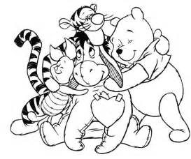 winnie the pooh coloring pages disney winnie the pooh hugs friends coloring pages and