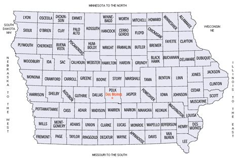 State Of Iowa Records Iowa County Map