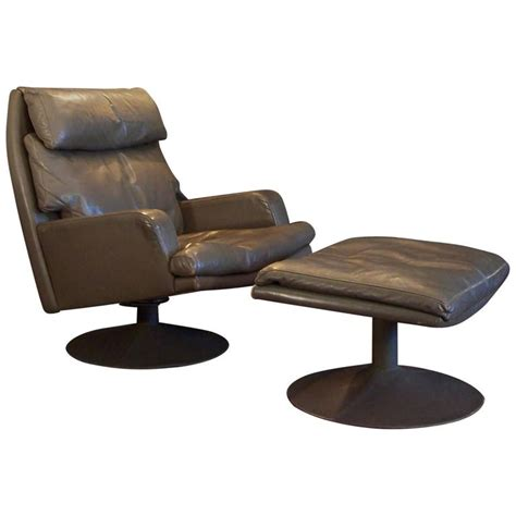 Large Vintage Leather Swivel Chair And Ottoman For Sale At Large Swivel Chairs