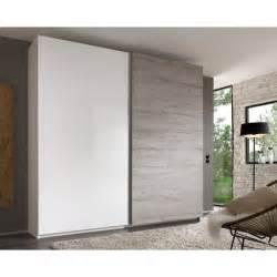 garde robe avec 2 portes coulissantes coloris blanc et gris
