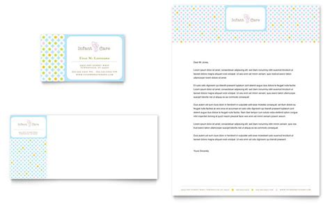 caign cards template infant care babysitting business card letterhead