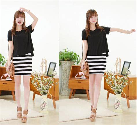 Dress Midi Pakaian Wanita Putih Hitam Garis Baju Impor Murah Af D 39 Dress Garis Hitam Putih Cantik Terbaru Model Terbaru