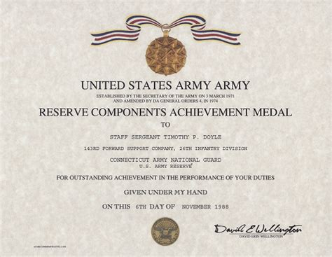 army conduct medal certificate template army reserve components achievement medal certificate