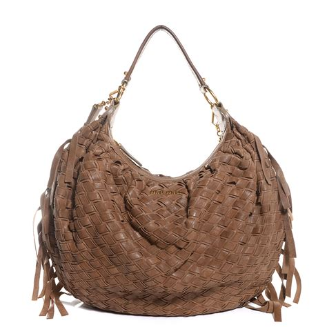 Miu Miu Woven Leather Tote by Miu Miu Woven Leather Fringe Hobo 89917