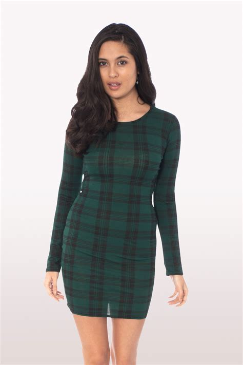 Tartania Dress bottle green tartan sleeve bodycon dress dresses