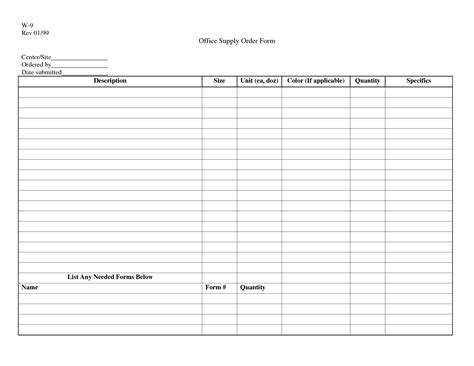 office supplies order form template best photos of office supply list printable office